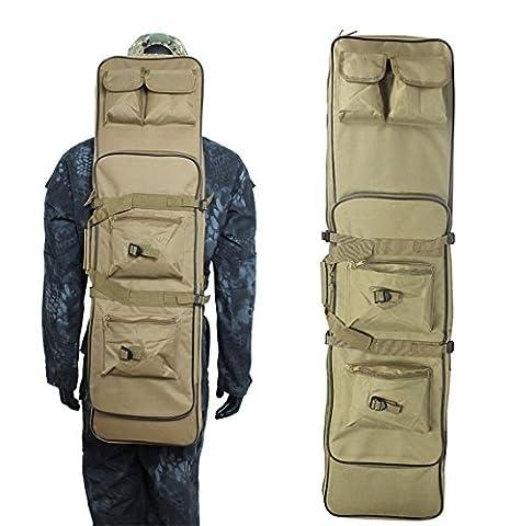 Airsson Pistolet Fusil tactique étui housse pour fusil double sac à dos de rangement avec sangle d'épaule pochette pour Magazine en nylon imperméable, peau, 120 cm/48