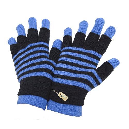 Damen Magic Gloves 2-in-1 Thermo-Handschuhe, gestreift (One Size) (Blau) (Gloves Magic Damen)