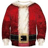 Loveternal 3D Stampato Maglione Natale Mens Ugly Christmas Felpa con Santa Hat novità Pullover L