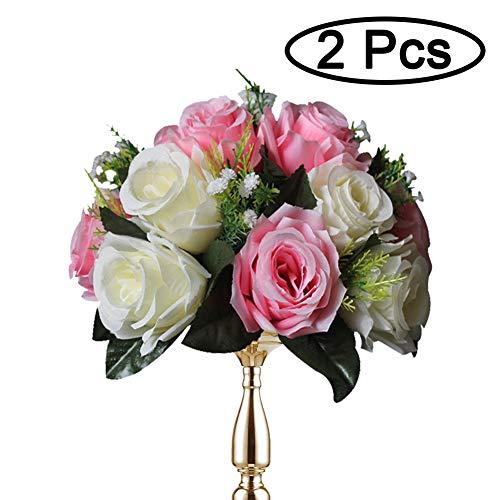 2 Piezas / Set Bolas De Rosas, Bolas De Flores Con Bandejas, Utilizadas Para La Pérgola De Bodas / Fiestas, Artículo De Uso Para El Sitio De Boda / Fiesta, Rojo Claro & Blanco
