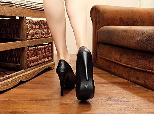 &hua Chaussures fines, chaussures brodées, talons hauts étanches, chaussures rétro du vent national Black