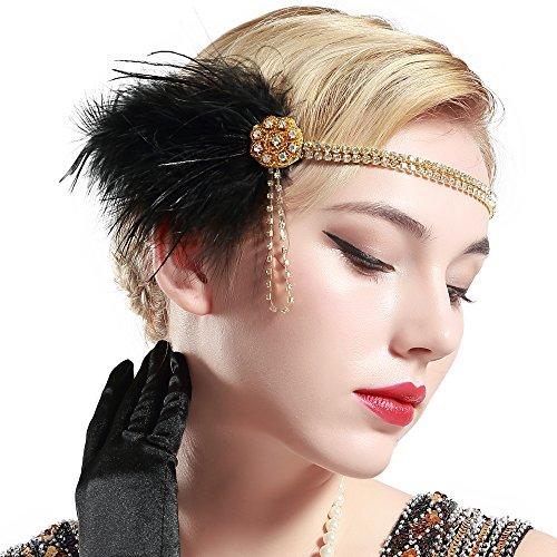 Stirnband 20er Jahre Stil Flapper Haarband Gatsby Stirnband Damen Kostüm Charleston Accessoires (Schwarz) (Die Besten Halloween Kostüme In Diesem Jahr)