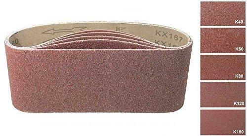 30 Gewebe - Schleifbänder 75x533 mm/Körnung je 6x Korn 40, Korn 60, Korn 80, Korn 120, Korn 180, Mix/Schleifpapier / Schleifbänder/Bandschleifer