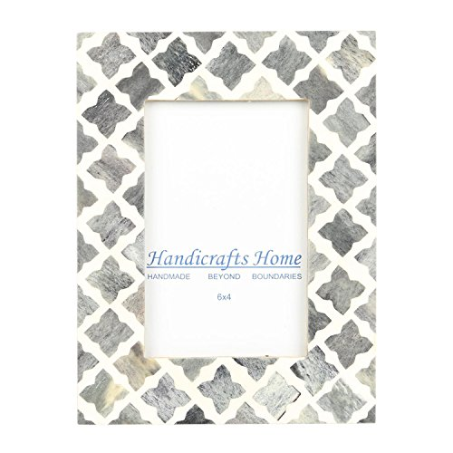 Kunsthandwerk Home 4x 6Foto Rahmen grau weiß Bone Mosaik Marokkanische Bilderrahmen, Quatrefoil, 10 x 15 cm - Bild Magnetische Frame-8x10
