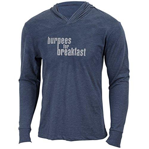 Burpees für Frühstück-Indigo-Herren Training Long Sleeve Triblend Hoody Workout Shirt, Herren, indigo -