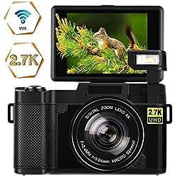 Appareil Photo Numérique Vlogging Caméra 24MP Ultra HD 2.7K WiFi Apareille Photo 3.0 Pouces 180 Degrés de Rotation écran à Retournement Youtube Caméra Lampe de Poche Rétractable