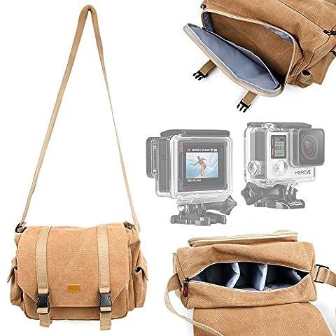 Sacoche en toile de coton couleur sable pour caméra GoPro 4 / HERO4 (Silver et Black Adventure, Surf & Music) - compartiments de rangement personnalisables DURAGADGET