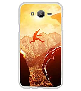 Fuson Designer Back Case Cover for Samsung Galaxy On7 G600Fy :: Samsung Galaxy Wide G600S :: Samsung Galaxy On 7 (2015) (Mountain Rocky Mountains Distant Mountains Cloudy Sky Jumping)