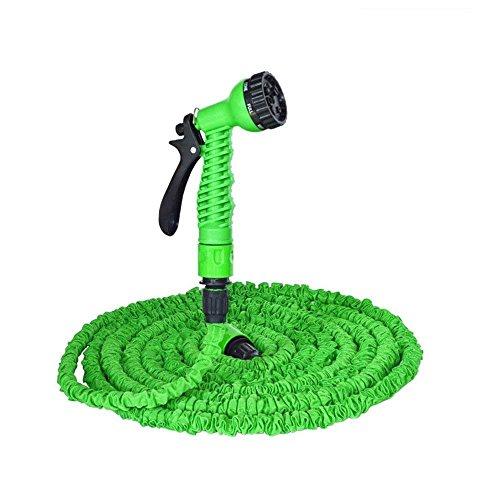 YFZYT Gartenschlauch Flexible 100ft 30m Wasserschlauch Set, Erweiterbar Magic Garden Schlauch Dehnbar für Bewässerung, Autowäsche, Haus Spülen, Pet-Bäder, 7 Funktionen Sprühpistole - Grün