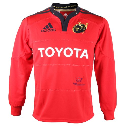 adidas-munster-domestique-jeunes-long-avec-manches-rugby-jersey-v13311-toyota-rouge-13-14-ans