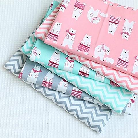 40x50cm tela de algodón Rosa Azul Verde Gris Raya del oso Impreso de coser la tela del remiendo que acolcha material 6