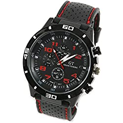 CHIC*MALL Fashion Rubber Silicone F1 GT Men Sports watch Casual Cycling Analog wrist watch (Black face red word)