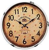 Perla PD Design Orologio da parete in metallo con vetro vintage design La beaujo laise colore laccato bianco ca. Ø 30cm