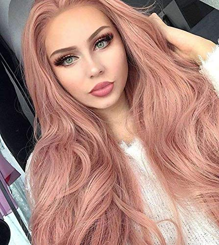 Cosswigs Long Wavy Peach Red Pink Lace Front Perücke for Women Glueless Synthetic Pink Wig Heat Ok 24inches Lady Perücke