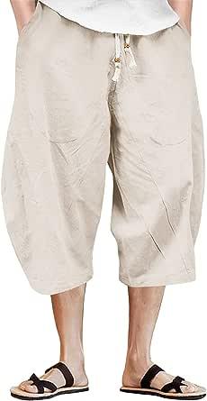 TACVASEN Men's 3/4 Cotton Linen Shorts Baggy Loose Fit Shorts Summer Casual Cargo Trousers Capri Shorts