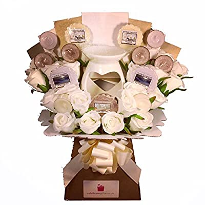Yankee Candle Wax Melt & Tea Light Collection with Silk Ivory Roses & Porcelain Wax Melt Candle Burner by Celebrate Gifts Ltd