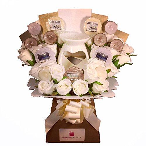 Yankee Candle Wax Melt & Tea Light Collection mit Seide elfenbeinfarben Rosen & Porzellan Wax Melt Kerze Brenner (Rose Tea Light)