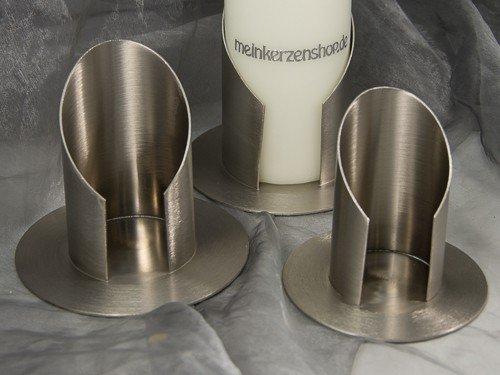 Kerzenteller Kerzenständer Kerzenhalter Hochzeitskerze Taufkerze Silber 16806, Größe:6 cm