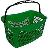 Cestino spesa ergonomico per negozi Lt.26 cestello self-service in plastica a braccio a 1 manico utile per supermercati e negozi (verde)