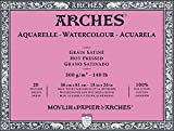 Arches 200177193 Block Aquarell satiniert, 300 g/qm, 20 Blatt pro Block