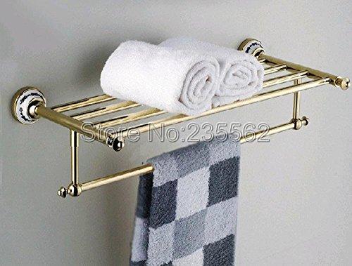 Messing Poliert Regal Halterung (AllureFeng Goldene Messing poliert Porzellan Sockel Wand-Bad Handtuchhalter Lagerregal Regal Halterung Streifen)