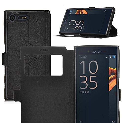 ELTD Sony Xperia X Compact Hülle, Window View Flip Cover Case / Hülle / Tasche/ Schutzhülle Für Sony Xperia X Compact 4.6 Zoll, Schwarz