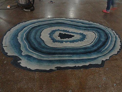 Creative Light- Teppich Abstract Oval Blue Art Physical Store Empfangsraum Wohnzimmer Couchtisch Studie Fußmatte Teppich (größe : 120cm*170cm)