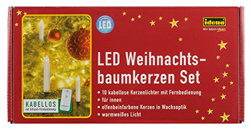 Idena LED Weihnachtsbaumkerzen Set mit 10 kabellosen Kerzen inklusive Infrarot Fernbedienung, warmweißes Licht 31102 - 2