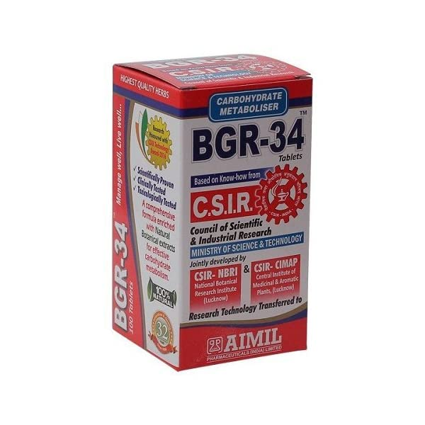 Aimil Carbohydrate Metaboliser Bgr-34-100 Tablets (Pack of 2)