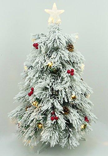Christmas Concepts 3ft (90cm) Pre Illuminato con fiocchi di neve in fibra ottica Albero di Natale con coni, bacche rosse e luci a LED