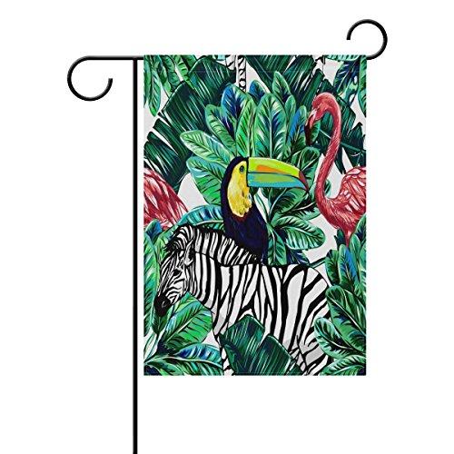 vinlin Jardin Drapeau Rose Flamingo Toucan Oiseaux Exotiques en Polyester Résistant Drapeau Welcome Home Drapeau 30,5 x 45,7 cm 71,1 x 101,6 cm, Polyester, 28x40(in)