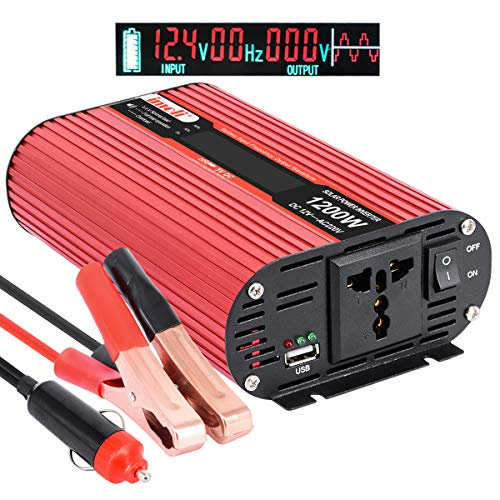 imoli 1200W/2400W Inversor de Corriente, DC 12V a AC 220V Convertidor automotriz con Pantalla LCD, 2 tomacorrientes de AC y Puerto de Carga USB Fuente de alimentación de Respaldo