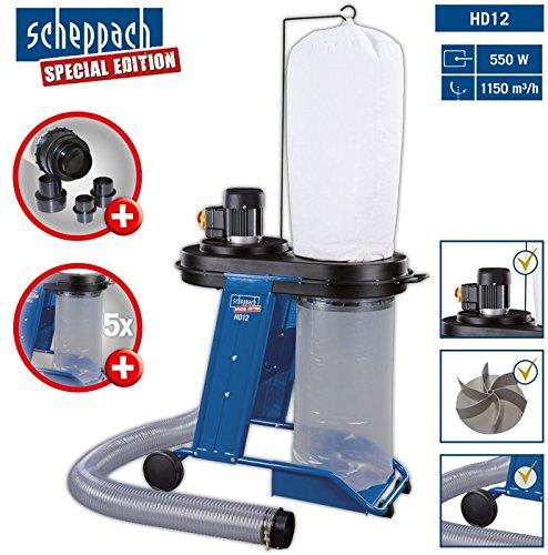 Scheppach Absauganlage HD12 (550 W, Luftleistung 1150m³/h, Füllmenge 75 L, Schlauch- Ø/-länge 100mm/2300mm, Fahrvorrichtung) inkl. 4 teiliges Adapterset und 5 Spänesäcke