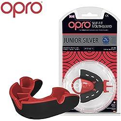 Protector Bucal Para Niños OPRO Self-Fit GEN 3 Silver para rugby, Fabricado en Reino Unido
