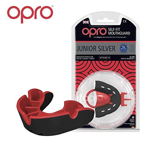 OPRO Mundschutz Silver Junior - Kinder Zahnschutz- für Handball, Rugby, Karate, Hockey, MMA, Boxen - selbst anformbar - mit Zahngarantie von bis zu 7.500 € - im UK entworfen & hergestellt (Schwarz/Rot)
