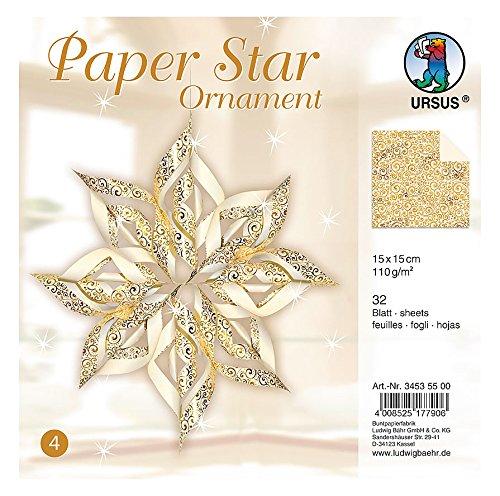 Preisvergleich Produktbild Ursus 34535500 - Paper Star Ornament 4, für 4 Sterne in der Größe circa 40 x 40 cm, gold
