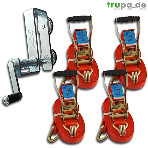 4 x Spanngurt 5to 12m + 1x STRAPY® Spanngurtaufroller- aufwickler