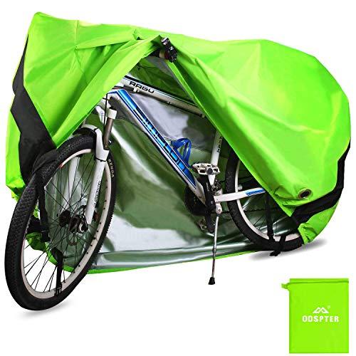 ODSPTER Fahrradabdeckung für 2 Fahrräder, wasserdichte 210D Oxford-Gewebe Atmungsaktives Draussen Fahrrad Schutzhülle mit Schlossösen Schutz, für Mountainbike und Rennrad 29 Zoll (Grün)