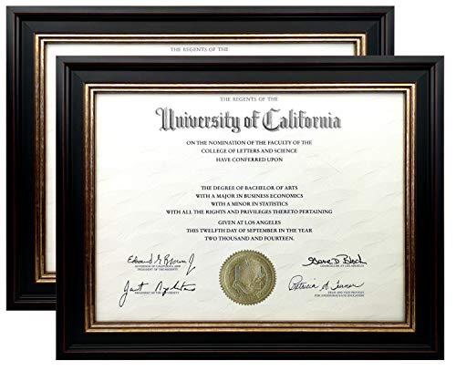 Onuri Inc..... Luxus Diplom-Dokumentenrahmen, 21,6 x 27,9 cm oder 27,9 x 35,6 cm, umweltfreundlicher Materialrahmen, Wandmontage, Phase 2 MDF, Echtglas gewaschenes Glas 8.5x11 Black, Gold, Red