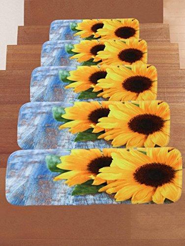 RedBeans Stufenmatten mit Sonnenblumen-Motiv, Rutschfest, rechteckig, für den Innen- und Außenbereich, Gummimatten für Treppen, 5 Stück