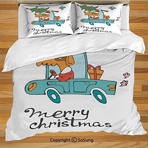 Cute Schwester Und Kostüm Bruder - Soefipok Weihnachten Bettwäsche Bettbezug Set, Blue Vintage Car Hund Fahren mit Santa Kostüm Cute Bird Tree und Geschenk Dekorative 3-teilige Bettwäsche Set mit 2 Pillow Shams, White Multi
