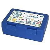 Brotdose mit Namen Leonard und 1. Klasse-Motiv zur Einschulung, für Jungen, blau - Brotbox - Vesperdose - Vesperbox - Brotzeitdose mit Vornamen