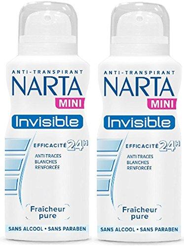 NARTA - Mini Déodorant Femme Atomiseur Invisible Efficacité 48h - 100 ml - Lot de 2