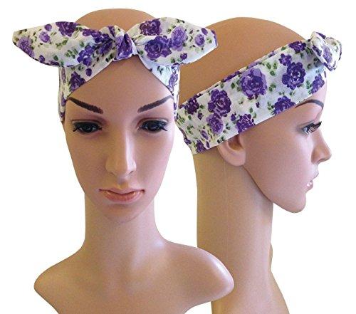 Purple &Vintage Floral weiß 40's 50's Rockabilly Gothic Emo Kopftuch/Schal/Haarband, Baumwolle (Baumwolle Playhouse)
