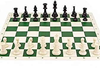 Kids Mandi Kids Tournament Green Roll-up Vinyl Plastic Filled Chess Board Set, 17 x 17 Inches, Medium (Multicolour,SC.ROLLONCHESS)