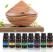 infinitoo Essential Oils Diffuser, 500ml Wood Grain Ultrasonic Diffuser Auto Shut-Off Cool Mist Humidifier wit