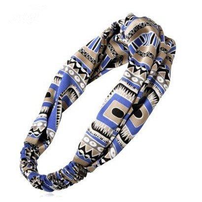 DUlijun L'Europe et la grande décoration exotique impression Croix large bande cheveux bande bijoux en épingle à cheveux bandeau blue