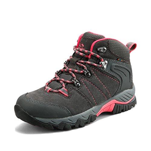 Clorts Damen Mid Wanderschuhe Wanderer Leder wasserdicht Leichte Außen Backpacking Trekking-Schuh 9 M US Grau -