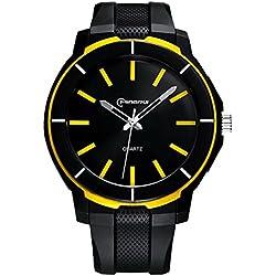 Boys Watches Leather Band 30m Waterproof Analog Quartz WristWatch(Yellow)