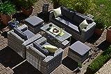 Bomey Rattan Lounge Set I Gartenmöbel Set Provence 6-Teilig I Essgarnitur mit Polstern I Sitzgruppe Grau + Tisch mit Glasplatte & Ablagefach + Polster Grau I Dining Lounge für Terrasse + Wintergarten
